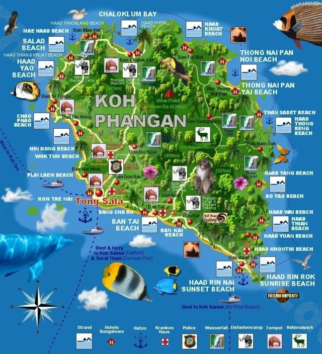 Карта пляжей Пангана
