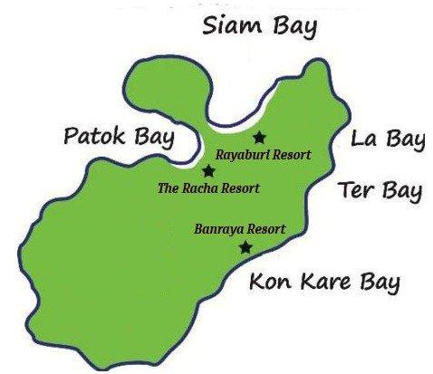 Карта пляжей Рача Яй