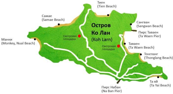 Остров Ко Лан карта
