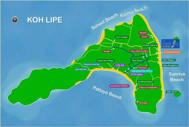 Карта пляжей острова Липе