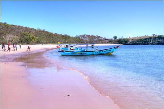 Розовый пляж на Ломбоке